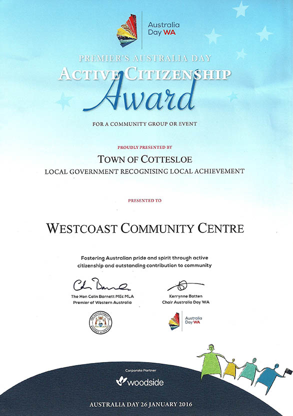 WCC Australia Day Award 2016